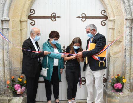 Inauguration du maire et de la maire du CMJ de la restauration de l'église de Saint Georges du Bois