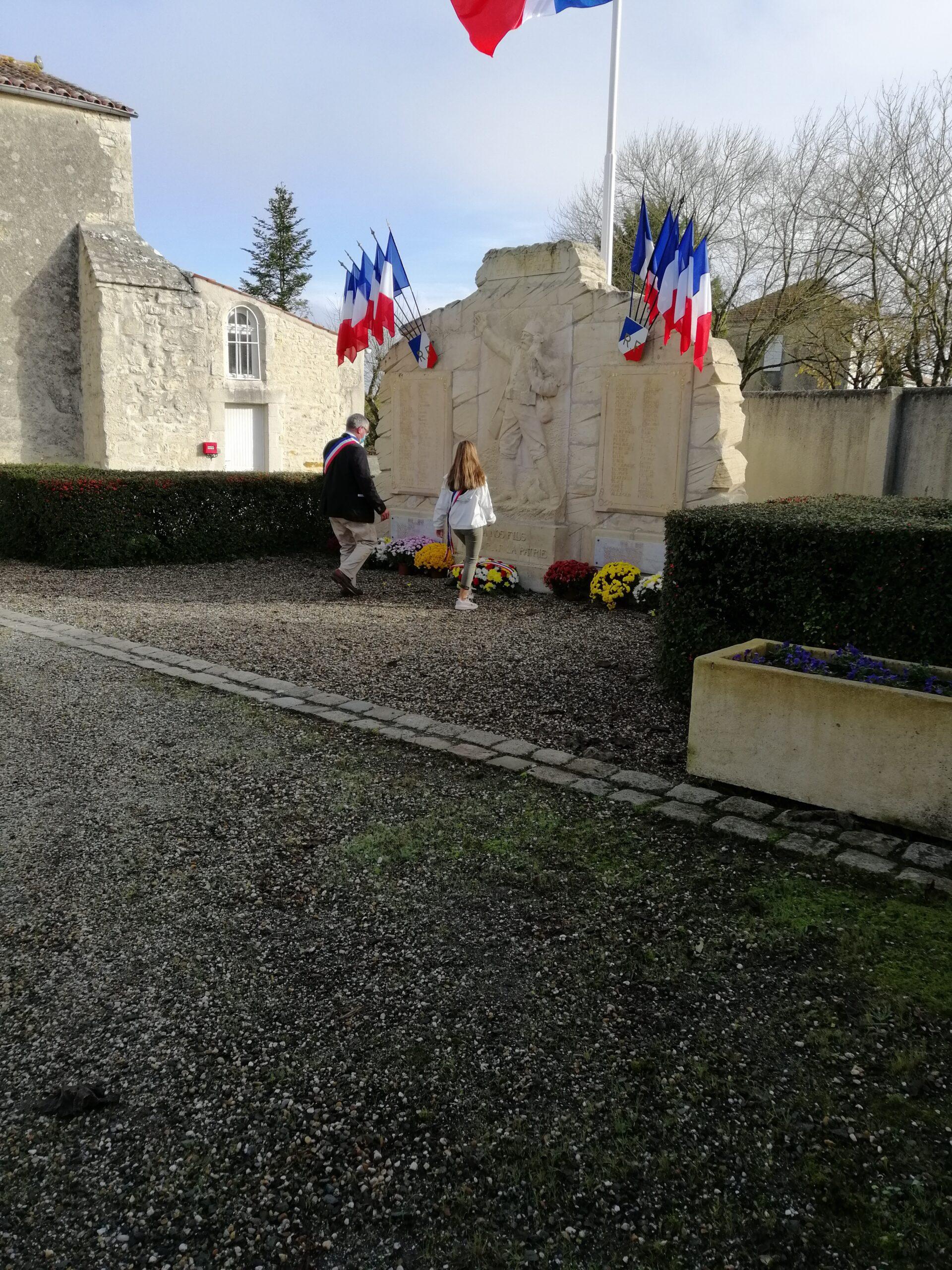 Armistice fleurs et drapeaux français